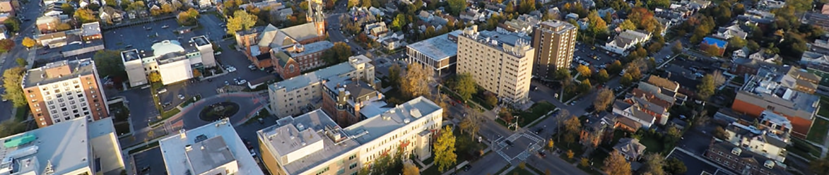 Aerial view of D'Youville campus