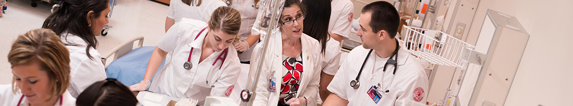 A D'Youville instructor offers guidance to a student in the nursing lab.