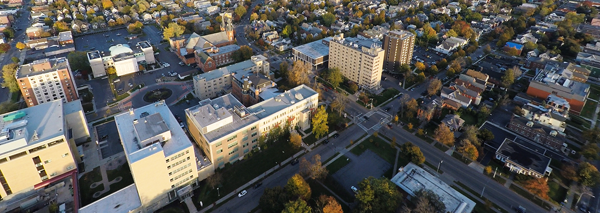 Aerial view of the D'Youville Campus