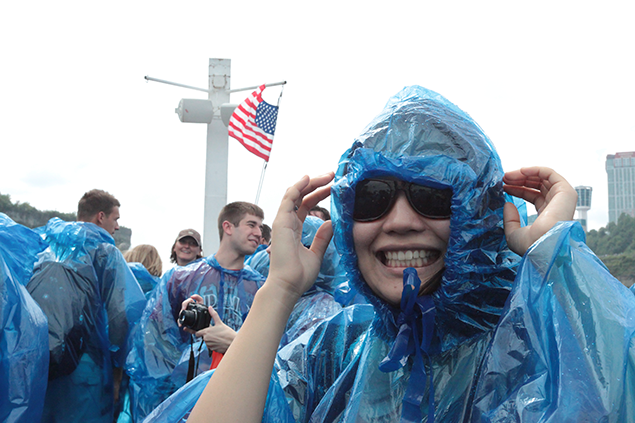 An international student enjoys Niagara Falls.