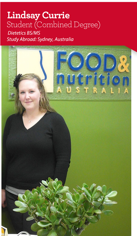 Lindsay Currie, Dietetics Student and Study Abroad Australia