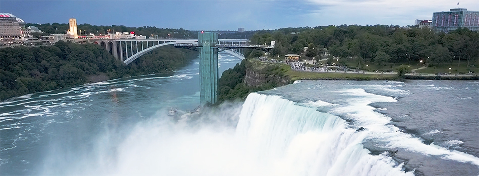 An aerial of Niagara Falls.