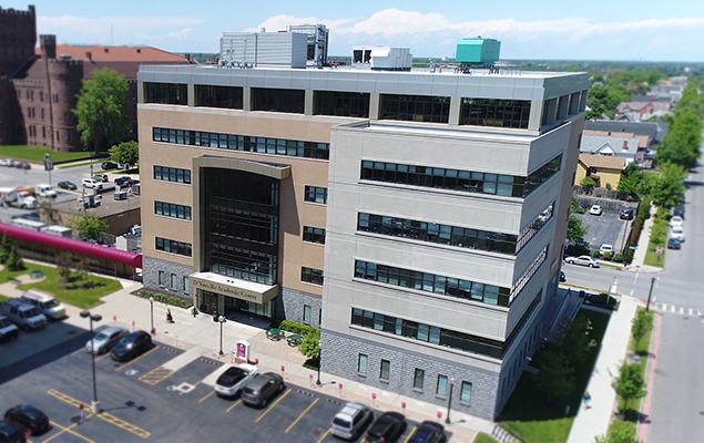 An aerial image of the D'Youville Academic Center