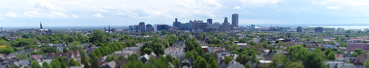 An aerial photo of downtown Buffalo.
