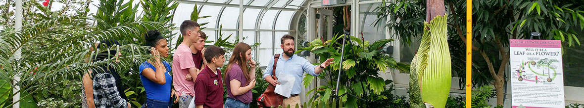 A D'Youville professor takes high school students to the botanical gardens as part of Pharm camp.