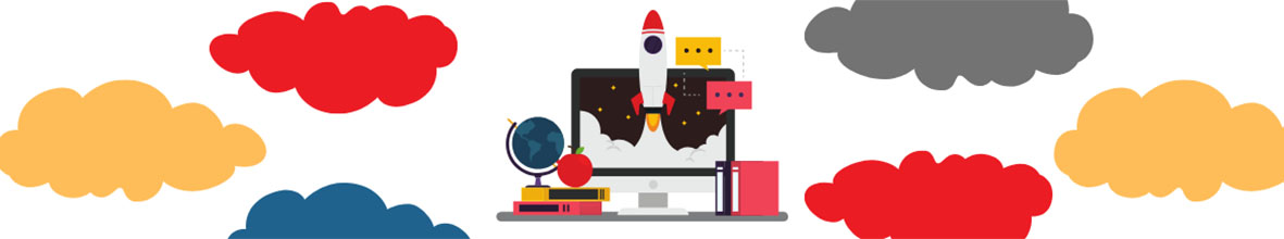 A graphic of a computer and rocketship.