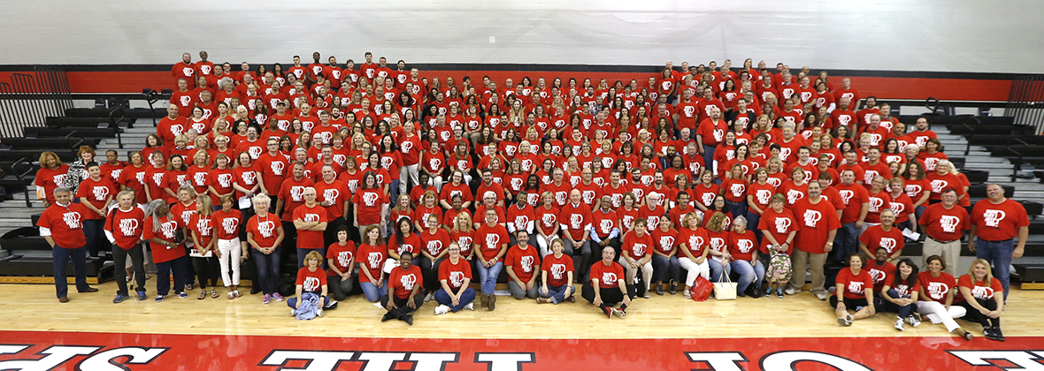 Faculty and Staff at College Assembly day.