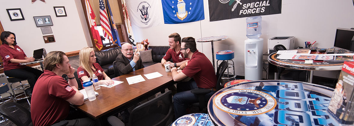 Members of the D'Youville Student Veterans of America participate in a discussion with Ben Randle, Director of Veterans Affairs.