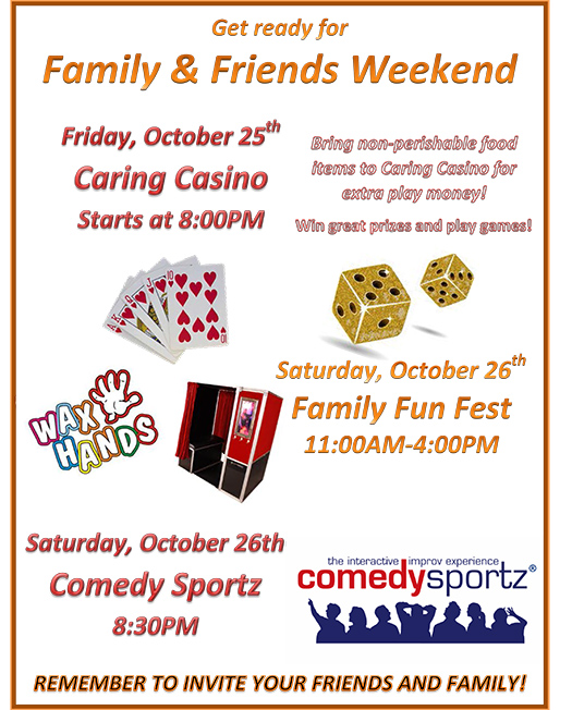 DYC to celebrate Family and Friends Weekend Oct. 25-26
