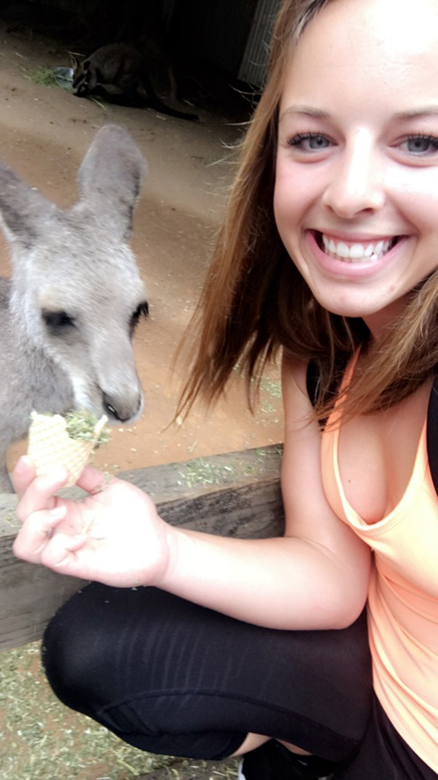 Selfie with a kangaroo during the Feather Dale Wildlife Preserve Day Trip