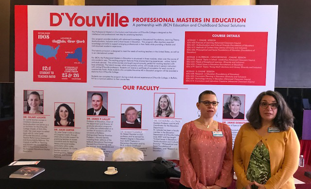 Hilary Lochte, PhD, chair of the education department, showcases D'Youville along with Julie Carter, PhD, EDM, director of the TESOL program.