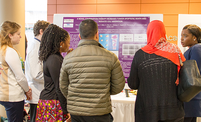 Held each spring, D'Youville's Research Day is an opportunity for students and faculty to present their research to the campus and the outside community. This year's event will be held on Monday, April 23, 2018 from 4:00 PM – 6:30 PM in the Blue Lounge, located in the College Center.