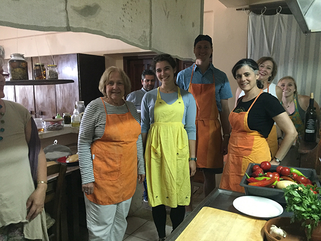 Katerina, a local chef, hosted the group inside her home for a cooking class.