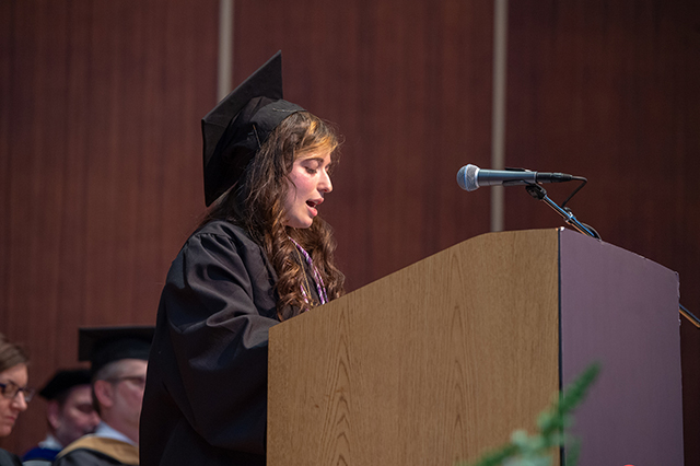 Samantha Cohen delivers her speech.
