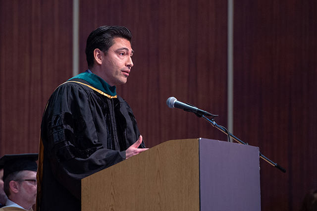 Dr. Efrain Talamantes at D'Youville Honors Convocation.