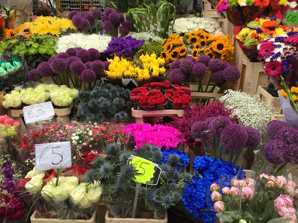 Flowers for purchase at a local market.