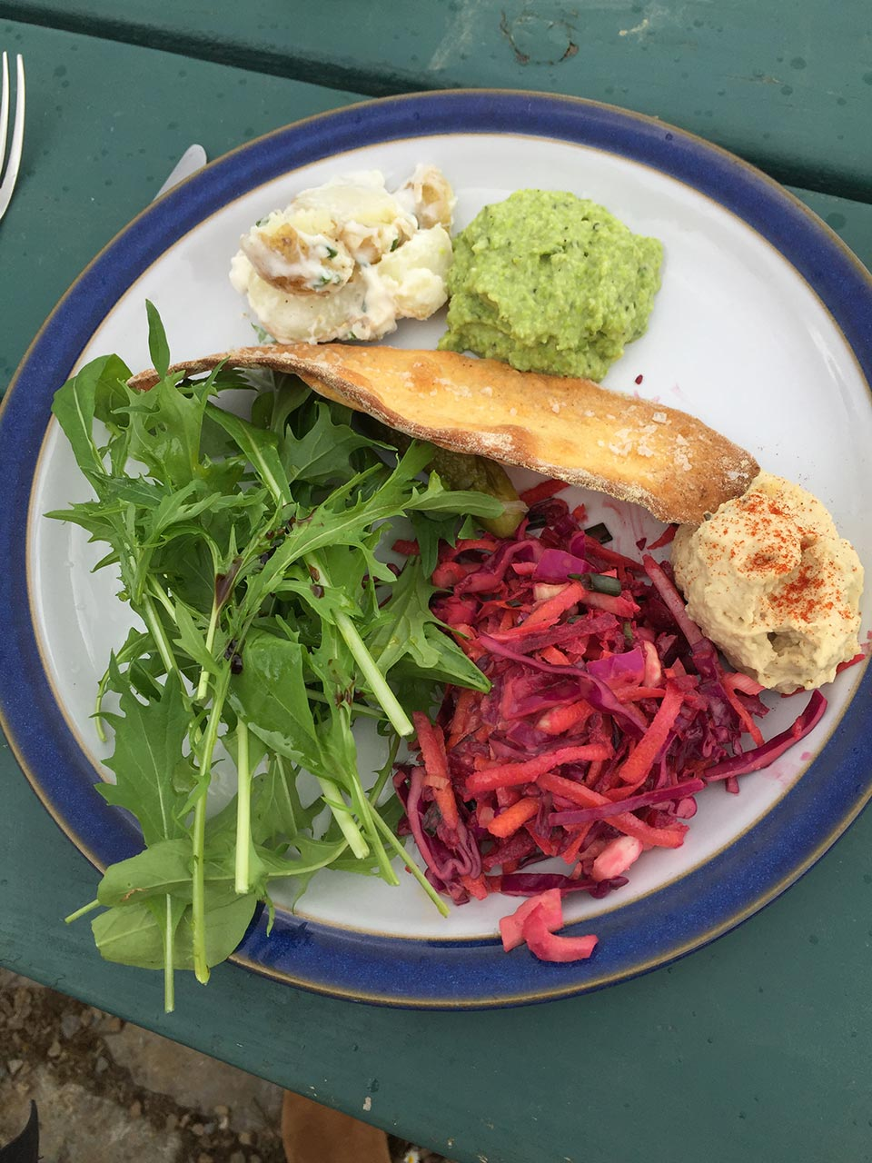 A vegan lunch including pita chips, red cabbage and carrot slaw, potato salad, fava bean puree, fresh greens, and hummus.