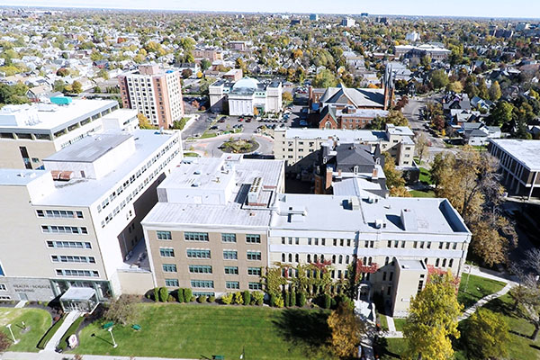 An aerial view of the D'Youville Campus.