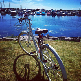 Photo: Bicycle parked at the waterfront