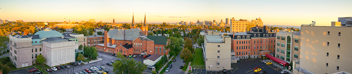 Panorama of D'Youville Campus and Buffalo Skyline