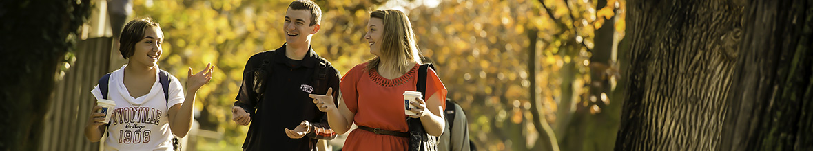 Photo: D'Youville students stroll and talk on an autumn day.