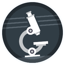 Icon: A microscope.