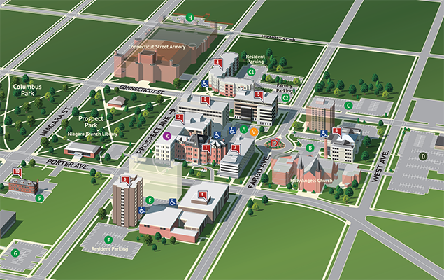 A screenshot of the campus from the virtual tour.