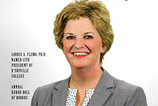D'Mensions Alumni Magazine featuring D'Youville College's new president, Dr. Lorrie Clemo.