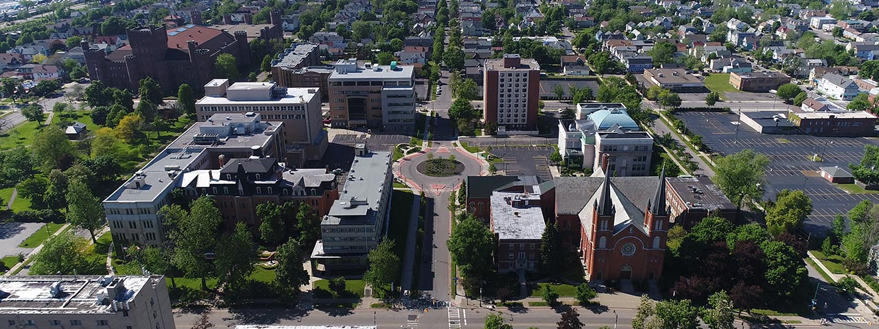 An aerial of the D'Youville campus.
