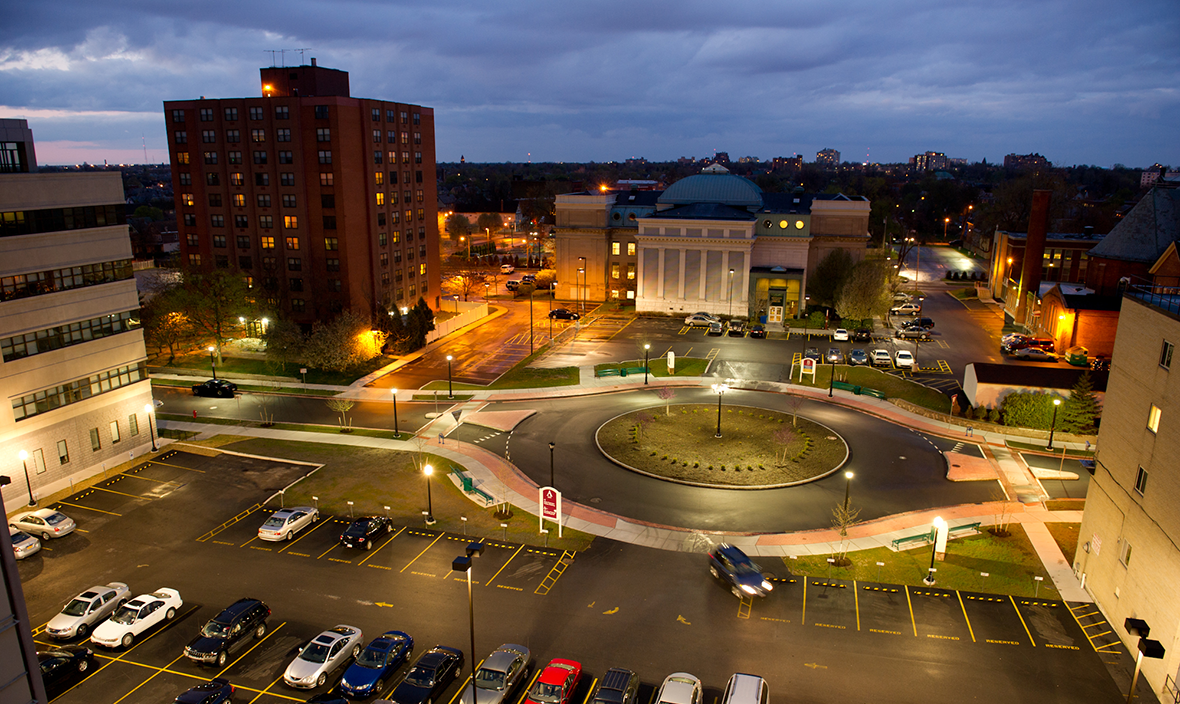 D'Youville at night