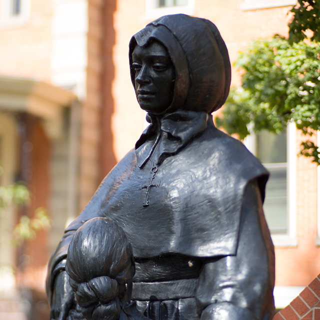 A statue of St. Marguerite d'Youville at D'Youville College
