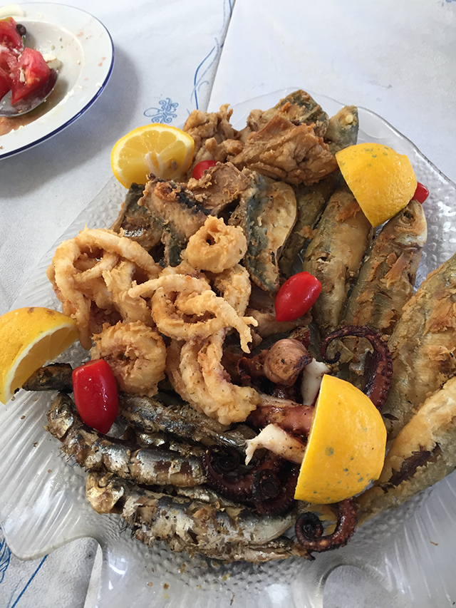 For lunch, the group was treated to three huge platters of seafood that included grilled octopus and sardines, fried calamari, red snappers, and gobies.