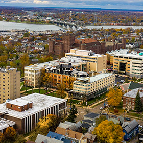 A picture of an aerial of the D'Youville campus.